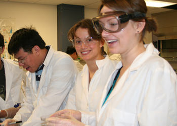 Undergraduates in the lab