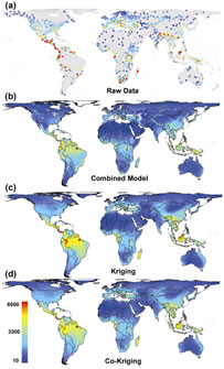 These maps depict the species-richness patterns of plants in 1,032 geographic regions worldwide