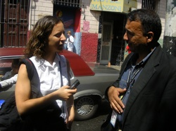 Alexandra interviewing local doctor in Barrito Catia