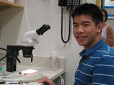 Darrell Tran researching in the lab