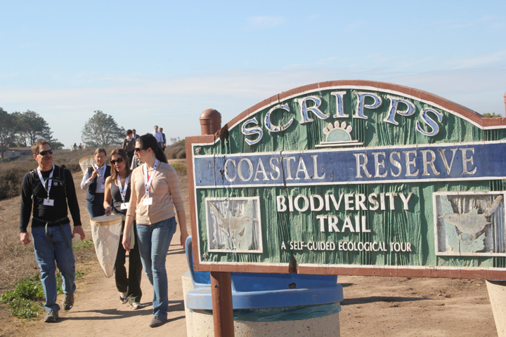 Participants walk into the Scripps Coastal Reserve together.