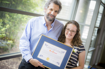 Professor Steve Wasserman and award winner Alexa Clemmons