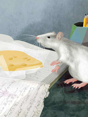 Cartoon of a rat as it searchers for food with postural and orofacial movements