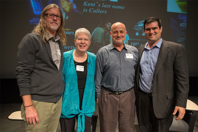 L-R: Sheldon Brown, Jill Tarter, David Brin, Brian Keating