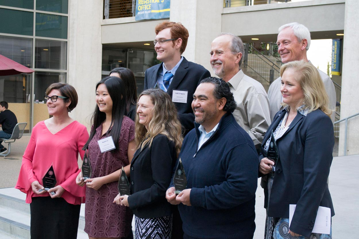 Group photo of UC San Diego's 2018 Integrity Awardees