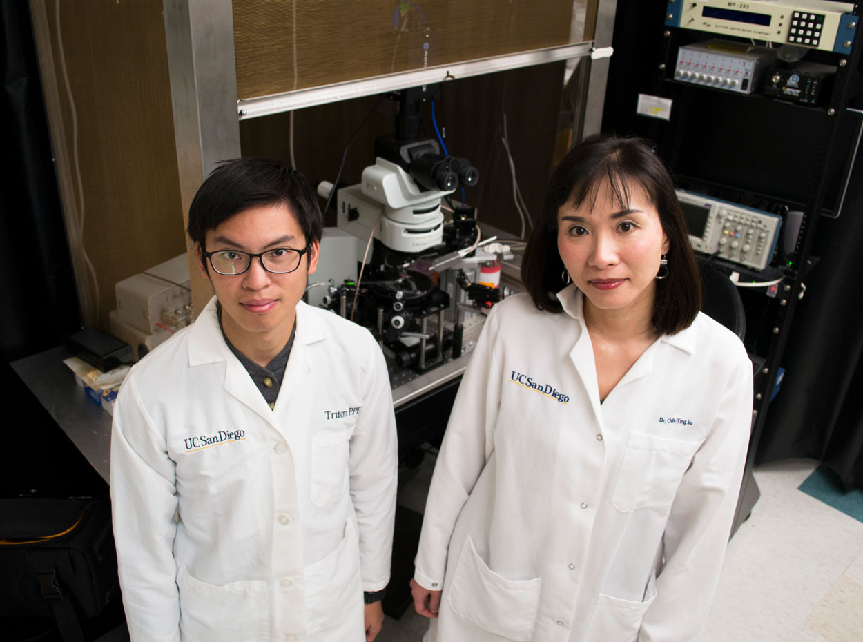 Renny Ng and Assistant Professor Chih-Ying Su standing side-by-side in their white lab coats looking at the camera